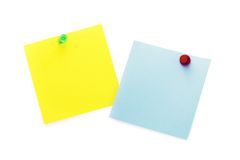 Post-It Notes with Push Pins. Clean post-it notes on a white background with push pins Stock Image