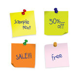 Post-it notes set with place for your text. And 3D pushpins Stock Photo