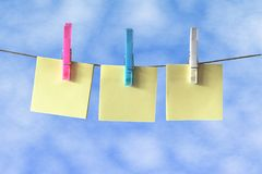 Post it Notes on Washing Line Stock Photos