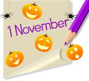 Post it November 1 Halloween party Royalty Free Stock Photos