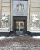 Post Office. Front door to the Post Office with lions flanking the entrance, Ottawa, Canada Royalty Free Stock Photo