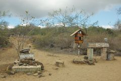Post Office Bay in Floreana Island, Galapagos Islands. Since the 19th century, whalers kept a wooden barrel at Post Office Bay, so that mail could be picked up royalty free stock photography