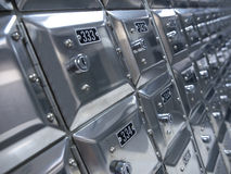 POST OFFICE BOXES. Numered metalic post office boxes Stock Photo