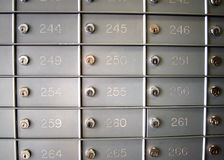 Post Office Boxes. Rows of locked post office boxes stock photo