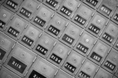 Post Office Boxes. A series of Old Post office boxes royalty free stock photography