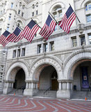 Post Office building. Old Post Office building with American flags, Washington DC, United States Royalty Free Stock Photos
