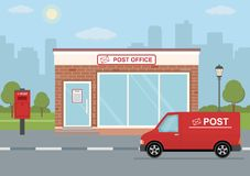 Post office building, delivery truck and mailbox on city background. Flat style, vector illustration stock illustration