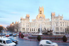 Post Office Building and fountian at Cibeles Square Stock Photos
