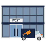 Post office building icon, vector illustration. Flat style design isolated on white. Colorful graphics vector illustration