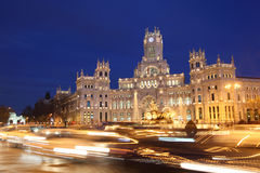 Post Office Building with illumination at Cibeles Square Royalty Free Stock Photography