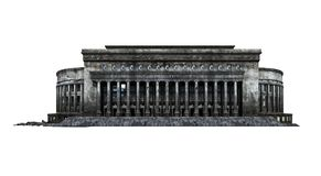 Destroyed post office building ruins. Post office building ruins. Isolated on white background. 3D Rendering, Illustration vector illustration