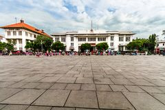 Post Office Building side by side with Jasindo building, Old City Tourism Area / Kawasan Wisata Kota Tua. royalty free stock photo
