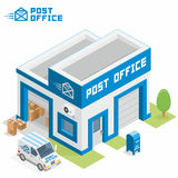 Post office building. Vector isometric post office building icon stock illustration