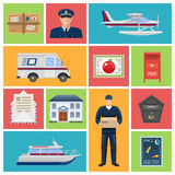 Post Office Flat Icons. With employees letters and parcels mailboxes transportation on colored backgrounds isolated vector illustration Royalty Free Stock Image