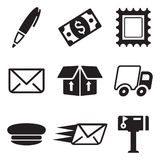 Post Office Icons Stock Photography