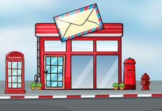 A post office. Illustration of a post office near a street Stock Photography