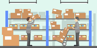 Post office interior. Delivering and sending the mails and parcels illustrations Stock Photo