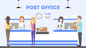 Post office interior. Delivering and sending the mails and parcels illustrations Royalty Free Stock Image