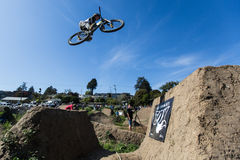 Post Office Jumps. The Post Office jumps at the Santa Cruz Mountain Bike Festival in Aptos, CA Royalty Free Stock Images