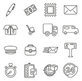 Post Office or Mail Man or Delivery Service Icons Thin Line Vector Illustration Set Royalty Free Stock Photo
