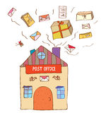 Post office with many letters and boxes. Funny illustration Stock Photography