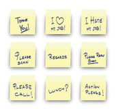 Post-It office messages. Yellow adhesive note (Post It) on white background with Thank you, I Love my job, I hate jobe, Please scann, Regards, Please reply soon Royalty Free Stock Photo
