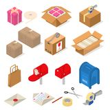 Post Office Packing Sign 3d Icon Set Isometric View. Vector. Post Office Packing Sign 3d Icon Set Isometric View Include of Parcel, Letter, Carton and Mailbox vector illustration