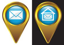 Post office place icon gold frame in blue background. Isolated white & black vector illustration