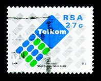 Post Office postage stamp, Telecom serie, circa 1991. MOSCOW, RUSSIA - OCTOBER 1, 2017: A stamp printed in South Africa shows Post Office postage stamp, Telecom Stock Photo