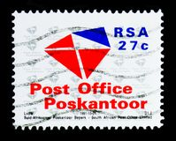Post Office postage stamp, Telecom serie, circa 1991. MOSCOW, RUSSIA - OCTOBER 1, 2017: A stamp printed in South Africa shows Post Office postage stamp, Telecom Stock Image