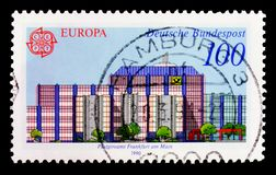 Post Office Postgiroamt Frankfurt on Main, Europa C.E.P.T. 1990 - Post Office Buildings serie, circa 1990. MOSCOW, RUSSIA - OCTOBER 3, 2017: A stamp printed in Royalty Free Stock Photography