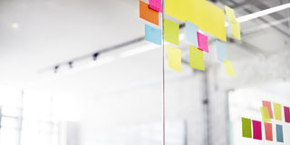 Post It Office Reminding Notice Organization Concept.  Stock Photo