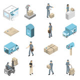 Post Office Service Isometric Icons Set Royalty Free Stock Photography