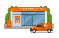 Post office service with postman riding car for delivery. Vector illustration isolated on background. Correspondence Royalty Free Stock Images