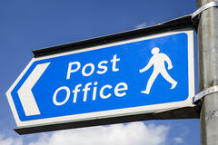 Post Office Sign. A sign showing the direction of the nearest Post Office in an English town Royalty Free Stock Photography