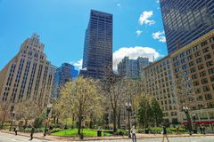 Post Office Square and Skyline with Skyscrapers in downtown Boston. Boston, USA - April 28, 2015: Post Office Square and Skyline with Skyscrapers in downtown Stock Images