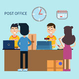 Post Office. Woman Receiving Letter. Postal Service Royalty Free Stock Photos