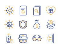 Post package, Phone payment and Romantic gift icons set. Search files, Delete file and Sunglasses signs. Vector. Post package, Phone payment and Romantic gift stock illustration
