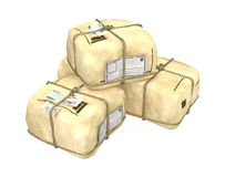 Post Packages. Small pile of wrapped 3d post packages, isolated Stock Photos