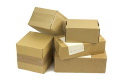 Post packages on white background. Royalty Free Stock Photos