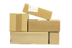 Post packages on white background. Royalty Free Stock Photo