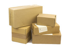 Post packages on white background. Post packages isolated on white background Stock Photos
