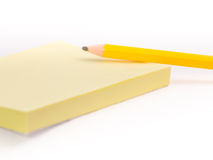 A post-it pad and a pencil #2 Royalty Free Stock Photography