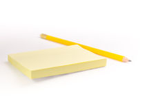 A post-it pad and a pencil #1 Stock Photos