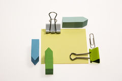 Post-it, Paper clips and Binder Clips Stock Photos