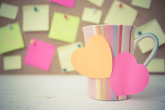 Post it papers note stick on a col Royalty Free Stock Images