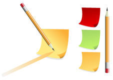 Post it and pencil Royalty Free Stock Images