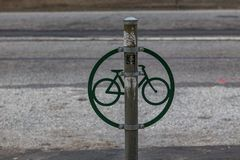 Bicycle Lock Post. A post in Philadelphia used to lock a bike royalty free stock photo