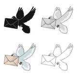 Post pigeon.Mail and postman single icon in cartoon style vector symbol stock illustration web. Royalty Free Stock Photo