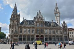 The post-plaza in Ghent. The facades are decorated with statues , these represents  Belgium, Flanders, Wallonia, the 9 provinces and 23 former European Leaders Royalty Free Stock Photo